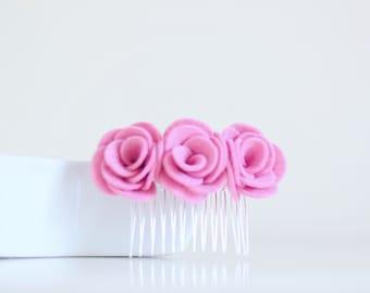 Cherry blossom pink flower hair accessories for women   pink flower hair comb   pink alternative wedding hair accessories
