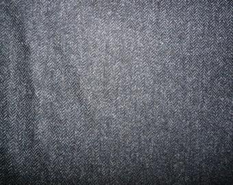 Fabric - 100% Wool herringbone - charcoal