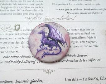 badge, brooch purple dragon