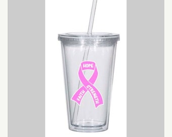 pink ribbon acrylic tumbler with straw. breast cancer awareness cup. tumbler with straw