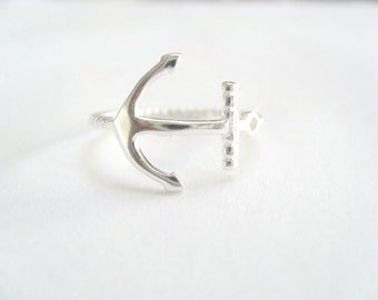 Sideway Anchor ring sterling silver*