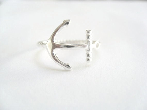 sideway anchor ring sterling silver