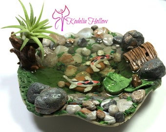 Koi Pond, Polymer Clay Dollhouse Miniature Garden, Pond, Dollhouse Garden Pond. Fairy Garden Koi Pond, Air plant container