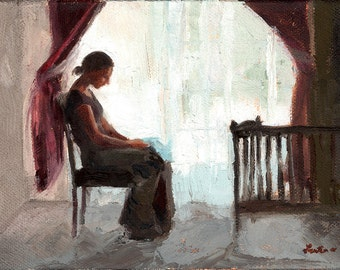 Infant and Pregnancy Loss Painting: Empty Crib. Original Painting Print