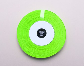 30 metres Neon Green/Fluorescent Satin ribbon - 6mm wide - 50% saving!