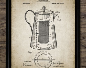 Vintage Coffee Percolator Patent Print - 1910 Coffee Percolator Illustration - Percolator Design - Single Print #582 - INSTANT DOWNLOAD