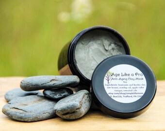 ANTI AGING FACE Mask- natural bentonite clay mask, essential oils, organic skin care treatment, apple cider vinegar, aloe vera, raw honey