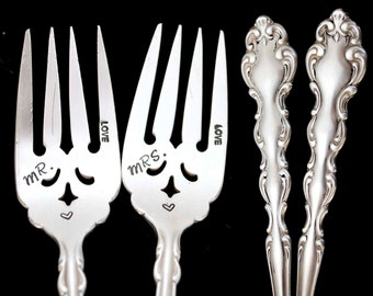 Mr Mrs Fork, Stamped Vintage Forks, Something Old Engraved Wedding Silverware Luncheon Fork Engagement Gift Ornate Silverware
