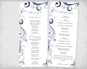 "Wedding program template download Silver gray & navy ""Scroll"" wedding programs DIY order of service - YOU EDIT Word printable"