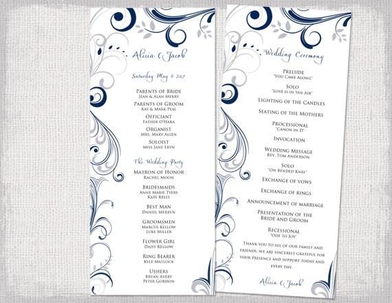 wedding program template download silver gray navy. Black Bedroom Furniture Sets. Home Design Ideas