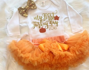 My First Turkey Day - My First Thanksgiving Shirt - Glitter Shirt - Newborn Girl - Baby Girl - Gobble -  Girls Shirt