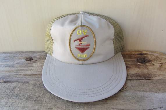 Ov pub long bill trucker hat original vintage 80s snapback hat for Long bill fishing hat
