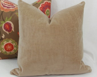Beige velvet decorative throw pillow cover. 18 x 18. 20 x 20.22 x 22. 24 x 24. 26 x 26. lumbar sizes.