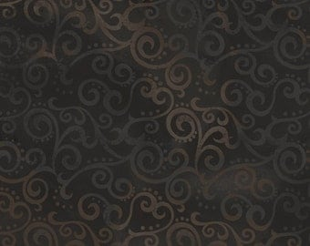 Ombre Scrolls Black (24174J) by Quilting Treasures Cotton Fabric Yardage