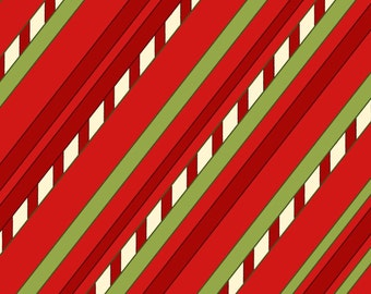 """Diagonal Stripe - Red by Henry Glass (8296-88) Cotton Fabric Yardage """"Purely Christmas"""""""