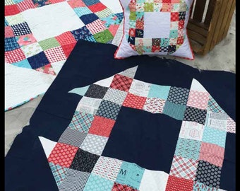 PATTERN - Charm Pack Churn Dash Pattern - Pillow And Quilt - Printed Pattern by Sterling Quilt Co - IN STOCK