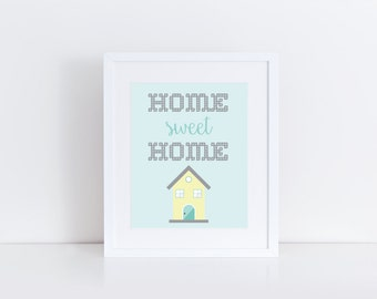 Home Sweet Home Print, Home Decor, Instant Download, Printable Art, Typography Art
