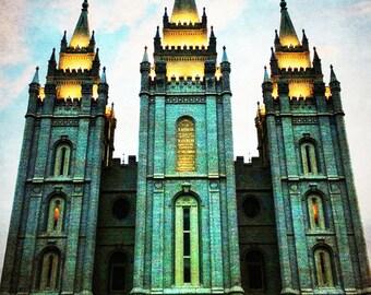 "Emerald Temple - Salt Lake City Temple Print 16""x20""; Wizard of Oz theme"