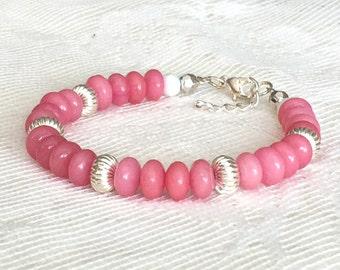 Pink Bead Bracelet, Pink Bracelet, Pink Beaded Bracelet, Pink and Silver Bracelet, Pink Morganite Bracelet, Pink Bangle, Pink Jewelry