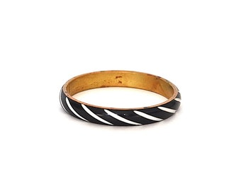 Vintage Black and White Brass Bangle Bracelet