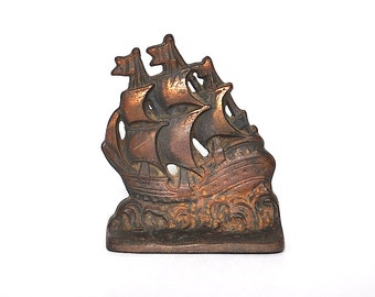 Vintage Cast Iron Doorstop of a Ship