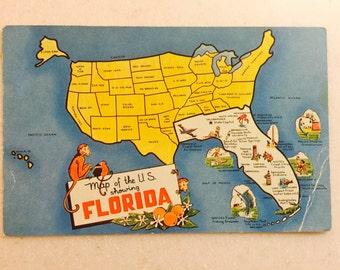 Old Florida Map Etsy - Florida us map