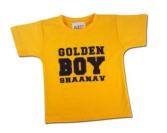 Boy's Yellow 'Golden Boy' Birthday Shirt with Number on Back and Embroidered Name