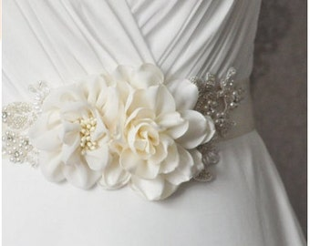 Handmade Flower Pearl Beaded Bridal Sash Belts