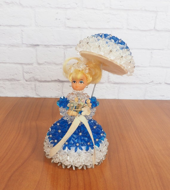 vintage handmade pinflair bead doll with parasol blue and
