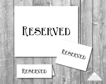 Printable Reserved Signs, Reserved Seating Signs, Wedding Signs, Printable Wedding SIgns, Black Reserved, Instant Download, Digital File