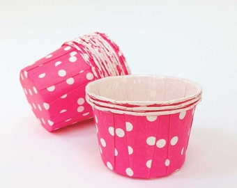 Pink Candy Cups (20), Hot Pink Nut Cups, Oven Safe Baking Cups, Raspberry Pink Cupcake Liners, Baby Shower Party Cup, Pink & White Polka Dot