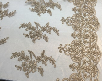 Taupe jasmine flower design embroider and corded on a mesh lace -yard