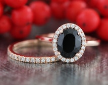 Half Eternity Diamond Wedding Band and Oval Cut Black Spinel Diamond Engagement Ring Bridal Set in 14k Rose Gold 9x7mm Color Gem Stone Ring
