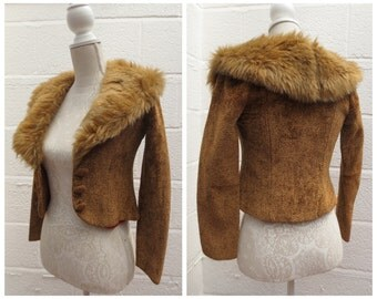 """DESIGNER 1970's """"Miss Mouse"""" Cropped Faux Fur Collar Jacket - Size XS"""