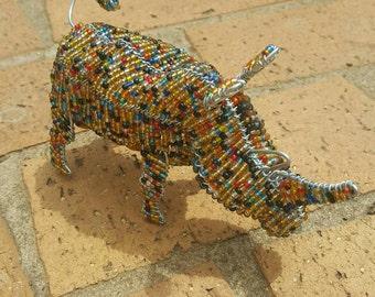 African beaded large Rhino ornament