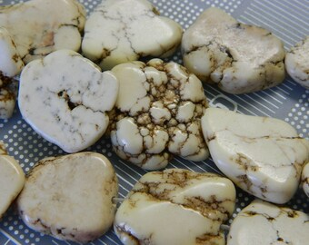 Big Dyed Natural Howlite Nugget Beads - White Howlite Nugget Beads - 5 Beads