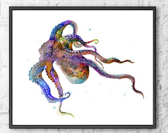 Watercolor Art Print Purple Octopus Painting Octopus Art, See Animal Art, Nautical Decor, Octopus Illustration  - F144