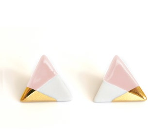 triangle earrings in pink, gold dipped, free shipping, triangle studs, pink studs