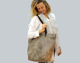 Sale!!!  Leather tote bag Oversized Leather bag Simple & Stylish Distressed taupe leather bag