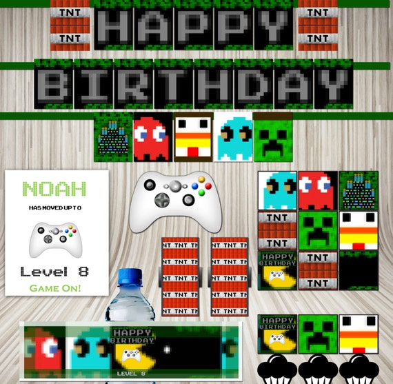 Video Game Boy's Birthday Printable Party Banner Poster