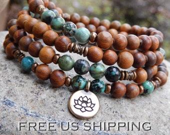 Turquoise & SandalWood Mala, Necklace, 108 Prayer Beads, Yoga Wrap Bracelet, Buddhist Mala, Meditation, Lotus, OM, Hamsa, Reiki infused