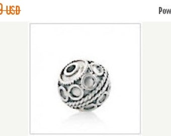 10% off Bali Sterling Silver 9 x 7.5mm Ornate Focal Bead #1900 - (1)