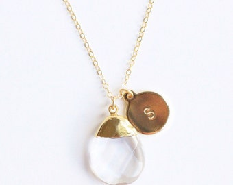 SALE Clear Crystal Teardrop Pendant Necklace with Hand Stamped Round Initial Charm