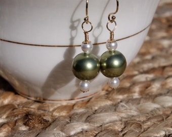 Swarovski Crystal Pearl Drop Earrings, Dangle, Green and White, 14K Gold Filled, Gift for Her