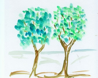 "Watercolor ""Two trees"""