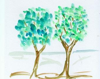"Original Watercolour ""Two trees"""