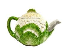 Ceramic Teapot, Vegetable Ware Cauliflower Green Cream Vintage China, Kitsch Novelty Gift, Kitchen Decor, Housewarming Gift, Gardener Gift