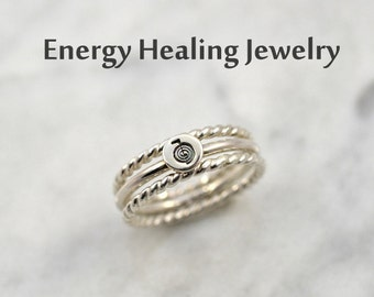 Reiki Ring, Reiki stack rings, Twisted silver ring, Reiki Power ring, Reiki Symbol Ring, Set of 3 rings - For Reiki Lover - Sterling Silver