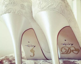 I do, Me Too - Shoe stickers for Wedding day, Bride & Groom diamonte
