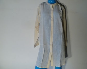 FREE SHIPPING - Vintage 70s India Cotton Gauze Long Button Up Blouse Boho Hippie